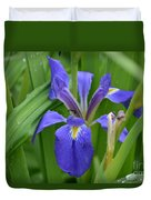 Purple Iris With Insect Duvet Cover