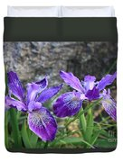 Purple Irises With Gray Rock Duvet Cover