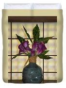 Purple Lilies In Japanese Vase Duvet Cover
