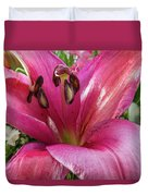 Purple Lilly In A Flower Bouquet Extreme Close-up Duvet Cover