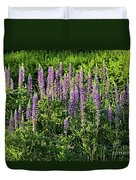 Purple Lupines In Summer Duvet Cover