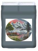 Purple Mountain Lake Duvet Cover