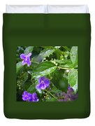 Purple On Green With Raindrops Duvet Cover