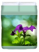 Purple Petunia On A Cool Spring Day Duvet Cover