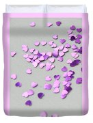 Purple Scattered Hearts I Duvet Cover