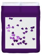 Purple Scattered Hearts II Duvet Cover