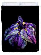 Purple Siberian Iris Flower Neon Abstract Duvet Cover
