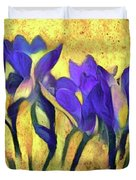 Purple Spring Crocus Flowers Duvet Cover