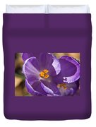 Purple Spring Crocus Duvet Cover