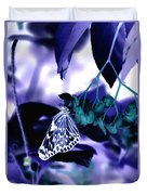 Purple Teal And A White Butterfly Duvet Cover