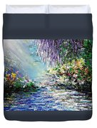 Purple Tree By The Lake Duvet Cover