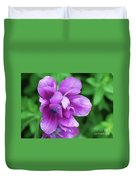 Purple Tulip Blossom With Dew Drops On The Petals Duvet Cover