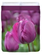 Purple Tulip With Water Drops Duvet Cover