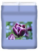 Purple Tulips With Dew Drops On The Outside Of The Petals Duvet Cover