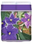 Purple Violets Duvet Cover
