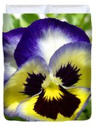 Purple White And Yellow Pansy Duvet Cover