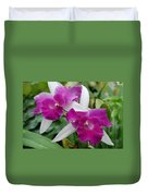 Purple White Orchids Duvet Cover