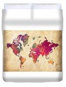 Purple World Map Watercolor Print  Duvet Cover