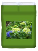 Purplea And Yellow Hydrangea Flowers Duvet Cover