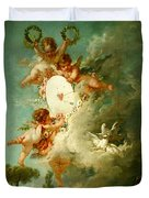 Putti Shooting At A Target Duvet Cover