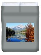 Pyramid Mountain Reflection 3 Duvet Cover by Larry Ricker