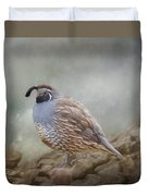 Quail On The Rocks Duvet Cover