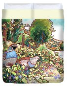 Quails And Blackberries Duvet Cover by Nadi Spencer
