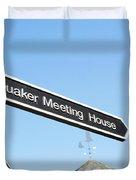 Quaker Meeting House Sign Duvet Cover