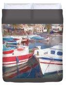 Quay On The Island Of Crete Duvet Cover