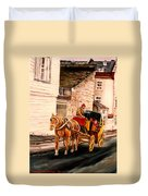 Quebec City Carriage Ride Duvet Cover