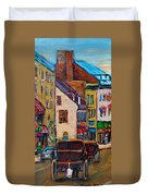 Quebec City Street Scene  Caleche Ride Duvet Cover