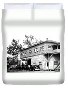 Quebec Garage 1940s Duvet Cover
