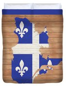 Quebec Rustic Map On Wood Duvet Cover