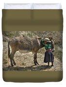 Quechua Girl Hugging His Donkey. Republic Of Bolivia. Duvet Cover