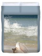 Queen Conch On The Beach Duvet Cover