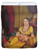 Queen Princess Sitting  Dressing From Her Maids Kaneej  Royal Art Oil Painting On Canvas Duvet Cover
