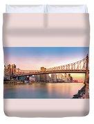 Queensboro Bridge At Sunset Duvet Cover