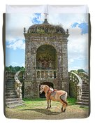Quelven Village Square, Awaiting His Owner, Brittany, France Duvet Cover