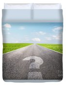 Question Mark Symbol On Long Empty Straight Road Duvet Cover