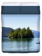 Quiet Day At The Lake - Digital Oil Duvet Cover