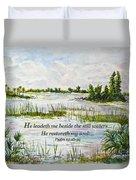 Quiet Waters Psalm 23 Duvet Cover