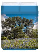 Quintessential Texas Hill Country County Road Bluebonnets And Oak - Llano Duvet Cover