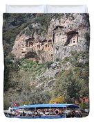 Quintessentially Dalyan River Boats And Rock Tombs Duvet Cover