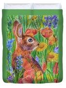 Rabbit In Meadow Duvet Cover