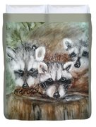 Raccoon Babies By Christine Lites Duvet Cover