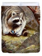 Raccoon Found Treasure  Duvet Cover