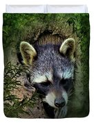 Raccoon In A Log Duvet Cover