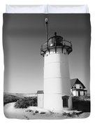 Race Point Lighthouse Black And White Photo Print Duvet Cover