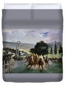 Races At Longchamp Duvet Cover by Edouard Manet