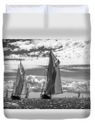 Racing On Open Waters B-w Duvet Cover